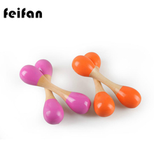 1Pcs Orff Instruments Wooden colored double headed Sand Hammer Maraca Early Childhood Educational Toys Music Perception(China)