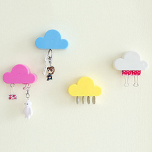 Pink/Yellow Cloud Shape Magnetic Magnets Wall Key Holder Keys Securely(China)