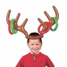 1Pcs Cute Inflatable Reindeer Christmas Hat Antler Ring Toss Holiday Party Game Toys Hair Bands Hair Accessories(China)