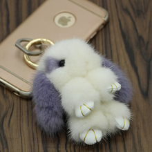 Genuine 9cm mink Furs Bunny Keychain Phone Pendant Bag Car Charm Tag Cute Mini Rabbit Toy Doll Real Fur Monster Keychains Gift