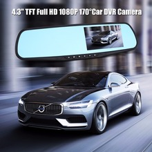 "H05 Full HD 1080P Car Rearview Mirror DVR Camera 4.3"" TFT LCD Dash Camcorder 170 Degrees Wide Angle Lens Digital Video Recorder(China)"