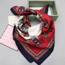 Luxury Brand Workplace Women Thin Silk Scarves Pashmina Art Square Silk Scarf Women Collar Shawls Spring 23 Colors Red Flower