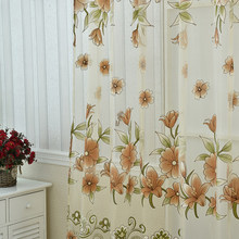 Curtains Sunflower Printed Voile Door Window Balcony Sheer Screening Green Pink Blinds New Arrival(China)