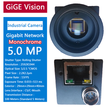 Gigabit GIGE 5MP Monochrome Industrial Camera + SDK, Machine Vision Applications Support For Windows 7/8/10 Operating System(China)