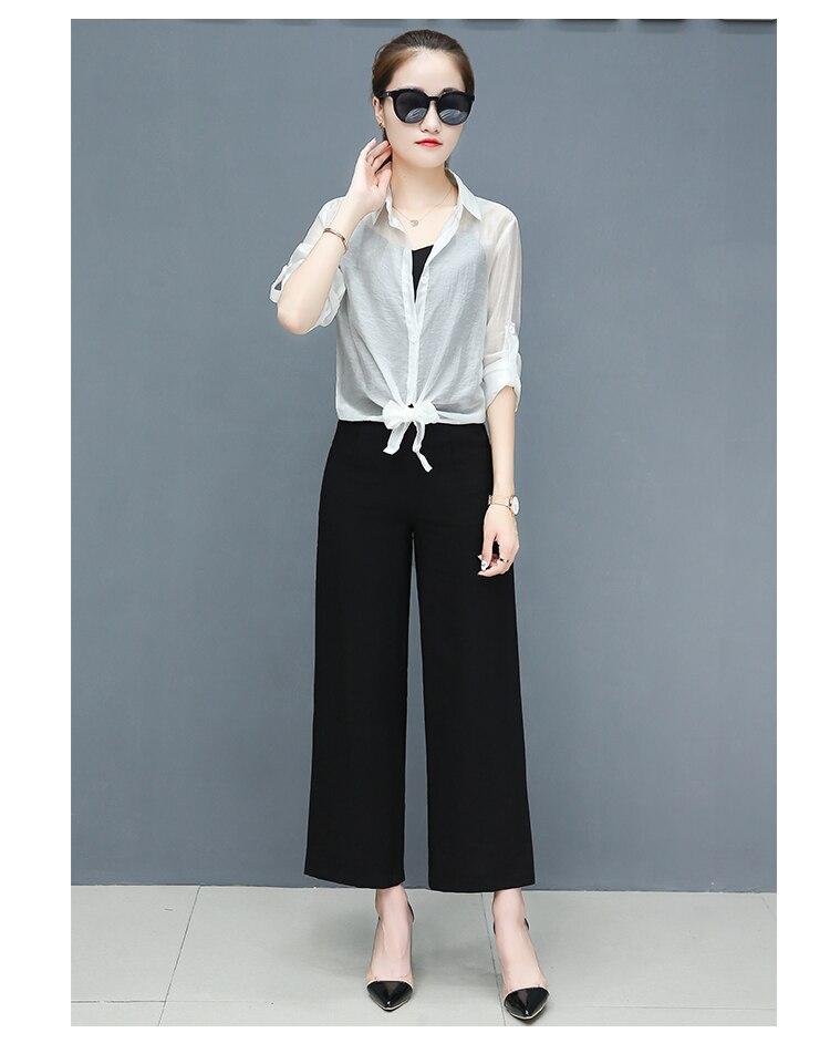 2019 Spring summer women sets office lady elegant chiffon blouse shirts+female wide leg pants trousers pantalon two piece sets 14 Online shopping Bangladesh
