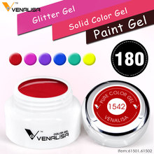 180 Solid Colors Nail Art Designs VENALISA 2018 Hot Sale Soak Off Paint Gel UV LED Ink Color Paint Gel Nail Varnish Gel Lacquer(China)