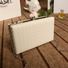Trenadorab White ladies frame bag black women leather clutches purse Pink silver Yellow diamond Lattice handbag on chain