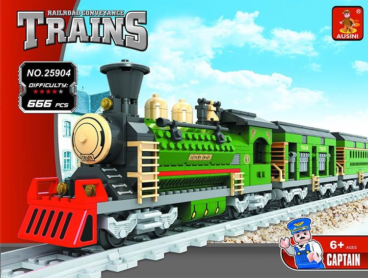 Model building kit compatible with lego city transportation train rails 666psc 3D blocks Educational model building toys hobbies<br>