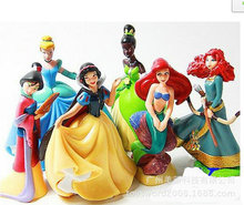 Free shipping 6pcs/lot Princess pvc figure doll Cinderella Snow White Rapunzel Mermaid Ariel Jasmine Belle baby princess toy(China)
