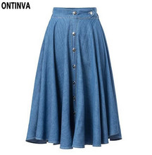 Midi-Length Long Denim Skirt Women Blue Jean High Waisted Skirts Womens Summer 2017 Saia Longa Vintage Jupe Longue