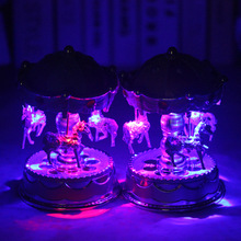 Luxury led flash light 3-horse Carousel Music Box Creative Artware/Gift ashion Home Decoration exquisite music box  CR-V1322