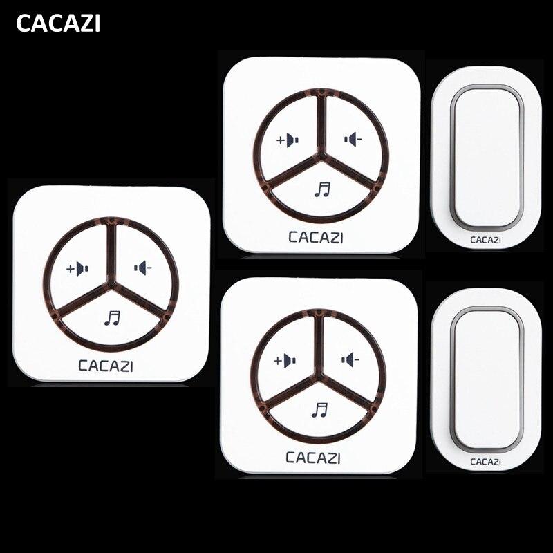 CACAZI New Waterproof Plug-in Wireless Door Bell Push Button with 2 Outdoor Transmitter + 3 Indoor Wireless Doorbell Receiver<br>