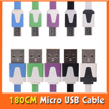 Universal USB 2.0 180CM/5.9FT Noddle V8 Micro USB Cable Charger Data Sync Cable for Samsung Galaxy S3 s4 Nokia HTC Free Shipping