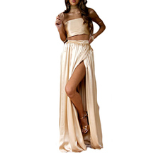 Satin Two Piece Set Women Fashion Lacing Bow Back Strapless Crop Top And High Waist Maxi Long Skirt High Slit Women'S Tracksuits