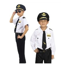 High Quality Free Shipping Game Show Chinese Handsome Pilot Costume Children Halloween Police Uniform for Holiday Carnival Party(China)