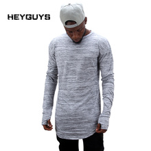 HEYGUYS 2017 extend hip hop street T-shirt wholesale fashion brand t shirts men summer long sleeve oversize design hold hand(China)