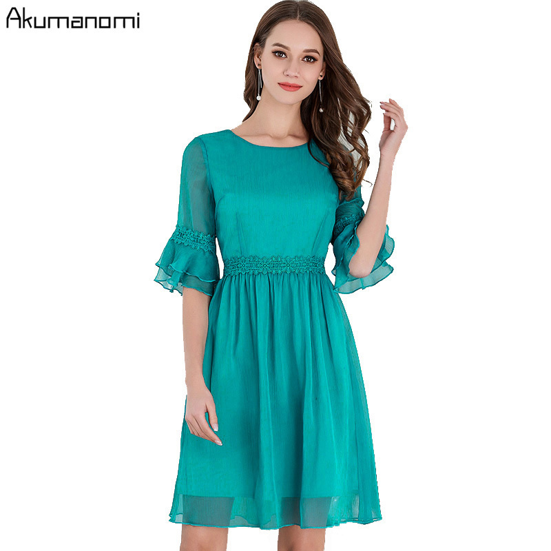 summer Voile Dress women clothing black Turquoise o-neck flare lace half sleeve Draped a-line dress Plus Size 5XL 4XL 3XL 2XL XL