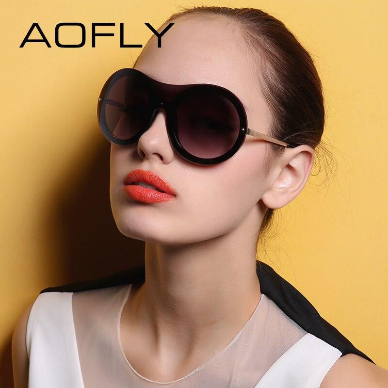 AOFLY Women Sunglasses Original Brand Designer Big Frame Sun glasses Round Glasses Rimless Gradient Lens oculos de sol UV400<br><br>Aliexpress