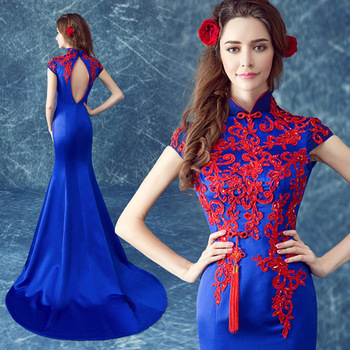 chinese traditional dress long mermaid blue designer dresses women lace wedding qipao plus size 2017 embroidery cheongsam red