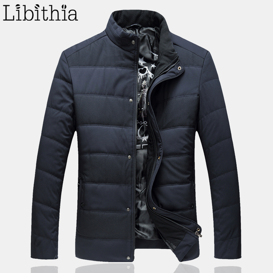Men Casual Coat Plus Size L-6XL Zipper Buttons Jacket Thick Coats Winter Warm Stand Collar Menswear Dark Blue Green F051