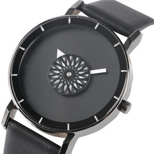 Simple Black Turntable Quartz Wristwatch Stylish Geometric Floral Dial PU Leather Band Modern Men Women Sport Concise Clock Gift(China)