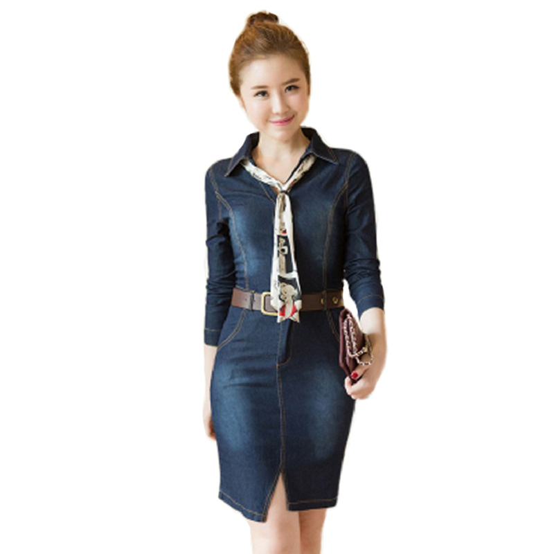 Women Elegant Denim Silk Scarves Wide Belt Sharp Jeans Dress Pockets Turn Down Open Fork Bodycon Office Denim Dress HCH239(China (Mainland))