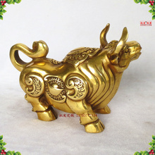 Pure copper sculpture, the rise of cattle, Wang Choi, Lucky Bull Bullion, gold bull ornaments, bronze decoration,