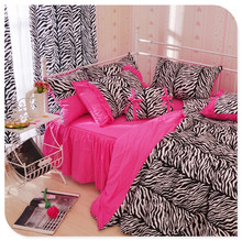 Twin Leopard Peach Puff Duvet Cover Print Black Brand New Bed Sheets for Wild Girls Queen King Zebra Bedding Set