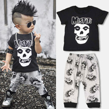 2017 New Fashion Kids Clothes Sets Boys Human Skeleton Head T Shirts+pants Children's 100% Cotton Clothing Sets Baby Boys Suits(China)