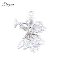 23*19mm Lovely Crystal Girl Charms Floating Silver/Gold Angel Baby Charms Pendant fit Bracelet Necklace DIY Female Jewelry