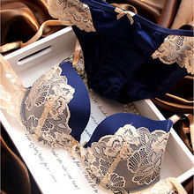 New Womens Lady Cute Sexy Underwear Satin Lace Embroidery Bra Sets Blue