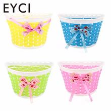 EYCI Outdoor Bicycle Bags Panniers Bowknot Front Basket Bicycle Cycle Shopping Stabilizers Basket For Children Kids Girl(China)
