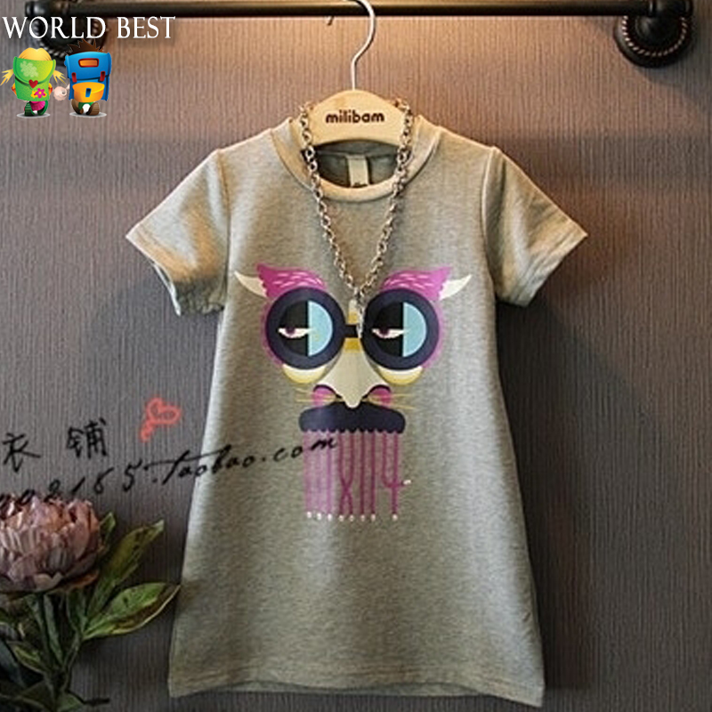 Child Girls Dresses Summer 2016 Kids Dresses For Girls Personality Glasses Baby Casual Korean Children Clothing Clothes China<br><br>Aliexpress
