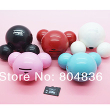 New Arrival Hot Sell 10pcs/lot Mini Cute Mickey Mouse MP3 Music Player Support Micro SD/TF Card 5 Colors Free Shipping
