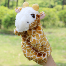 Candice guo! New style animal cartoon giraffe deer plush toy hand puppet baby toy telling story gift 1pc