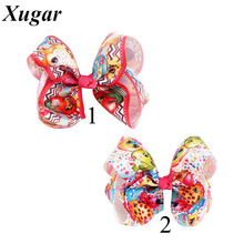 2 Pcs/Lot 5'' Trendy Cute Printed Boutique Grosgrain Ribbon Hair Bows With Clips Children Girls Hair Accessories
