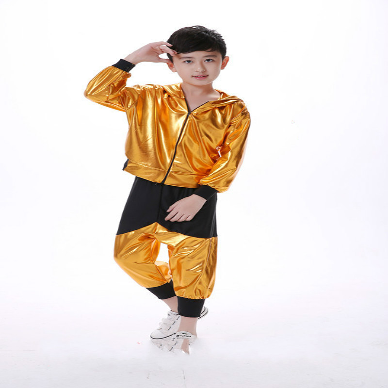 International Childrens Day kids Jazz Dance boys modern hip-hop costume girls performance dancing sequin clothing sets with hat<br>