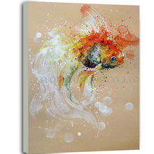 Top Artist Pure Hand-painted High Quality Abstract Animal Fish Oil Painting on Canvas Special Lovely Animal Fish Oil Painting(China)