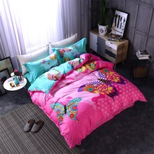 luxury 4pcs butterfly flower 3d bedding set bedclothes flowers in bedroom queensize duvet coverbed sheet2 pillowcases