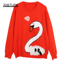 Fashion Ladies Jumper Winter Spring 2018 Womens Sweaters Sweet Style Swan Applique O Collar Long Sleeve Female Knitted Pullovers(China)