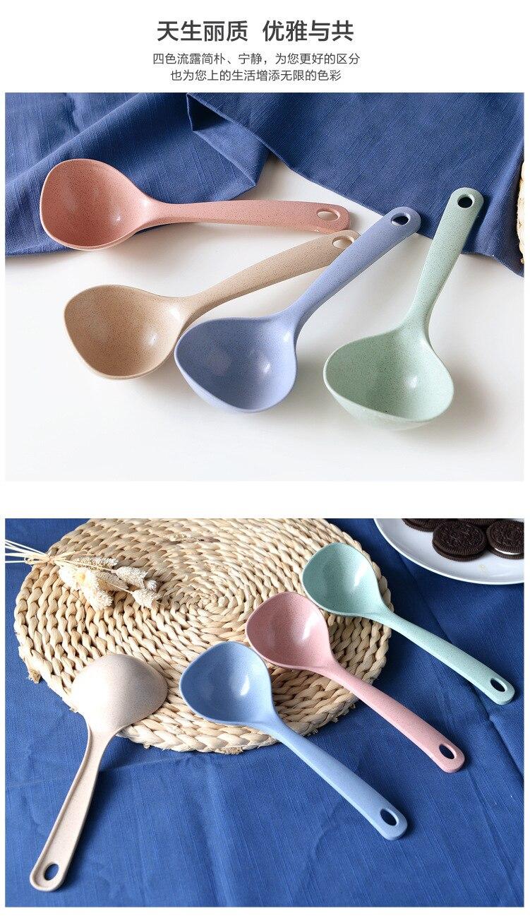 vanzlife Nordic wind ladle household creative Kitchen Spoon porridge Rice porridge large round plastic spoon tablewear 6