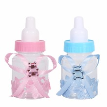 Pink/Blue 50Pcs/Lot Baby Shower Baptism Christening Birthday Gift Party Favors Candy Box Bottle Wedding Festival Supplies(China)