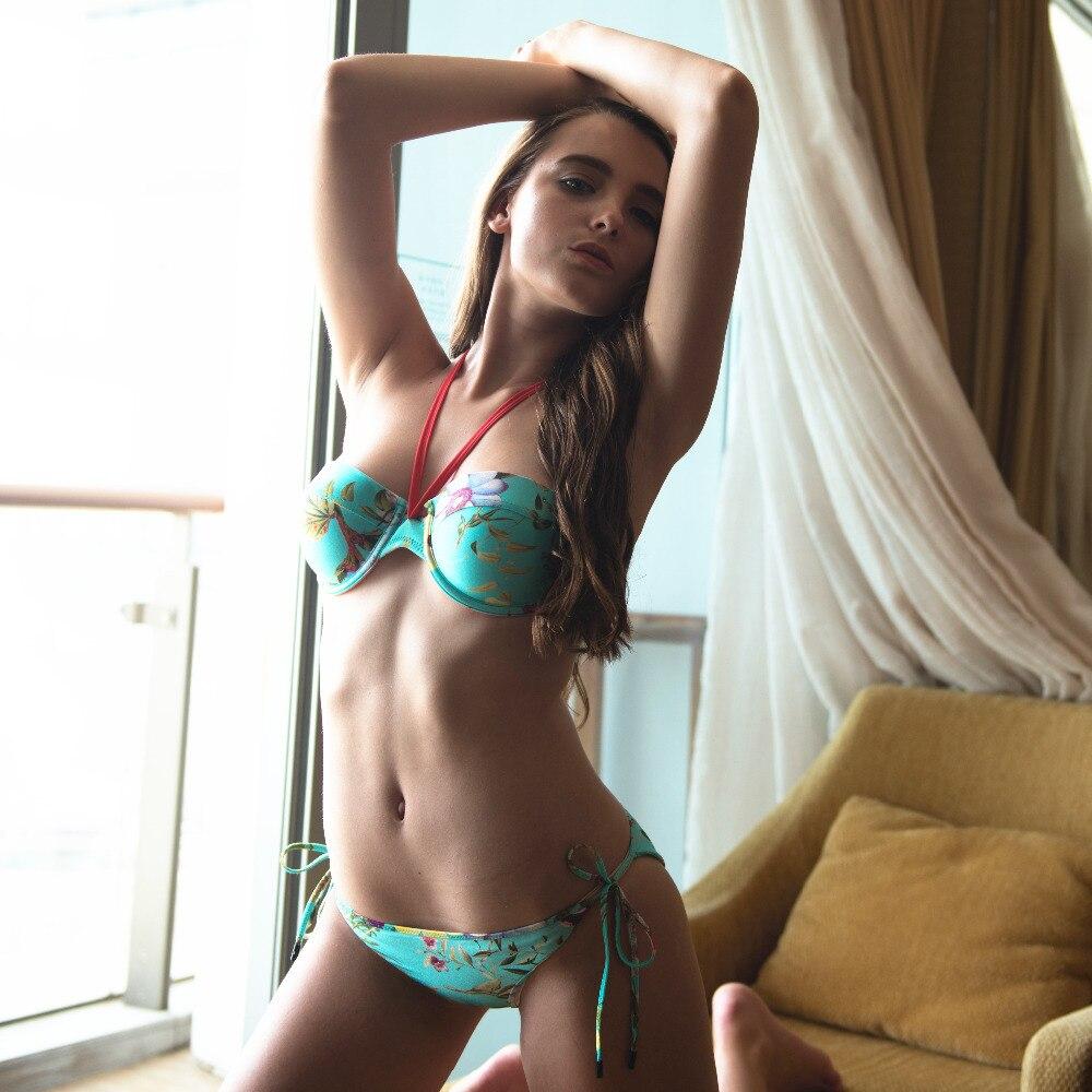 2017 Push Up String Neoprene Bikini Underwire Swimwear Women Floral Swimsuit Bathing Suit Brazilian Maillot De Bain Biquin<br>