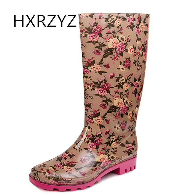 HXRZYZ women rain boots female printing rubber boots spring and autumn new fashion PVC waterproof Slip Resistant shoes women<br>