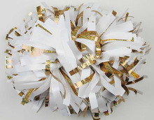 "cheerleading Pom poms 3/4""x 6""~custom color metallic gold and white handmade new hot sale"