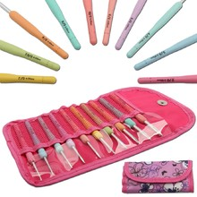 Portable With Bag Set Of 10Pcs Aluminum Crochet Hooks Knitting Needles Multi Color Soft Plastic Grip Handle Weave Craft