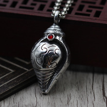 Sterling Silver Ornaments Thai Silver Men & Women's Jackets Hip Pendant Retro Babao Necklace Pendant(China)