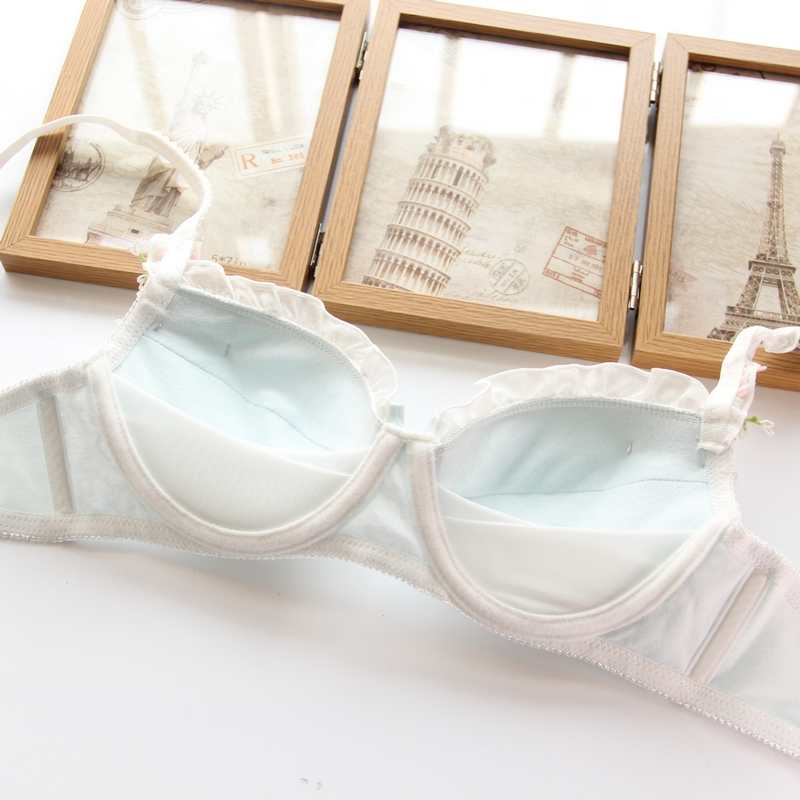 YOURMIX Nice Quality Cotton Lolita Girl Design Appliques Wirefree Floral Lace Bra and Brief Set Lady Lingeria ABC cup