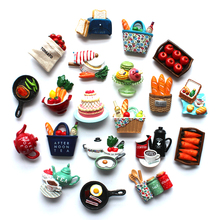 3D Fridge Magnet Three-dimensional simulation magnetic board stickers Creative Hand Painted Refrigerator Decorations magnets