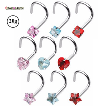 2Pcs Mix Color Star&Heart&Square Zircon Gem Prong Set Screw Twist Curve 20G Nose Screw Rings Piercing Nose Studs Body Jewelry